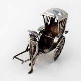 .Chinese Export Rickshaw Figurine Wang Hing 900 Standard Silver