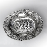 .Hanau Repousse Openwork Oval Serving Bowl 800 Standard Silver