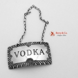 .Vodka Bottle Tag Label Sterling Silver Stieff 1950