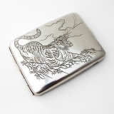 .Japanese Engraved Tiger Large Cigarette Case 950 Sterling Silver