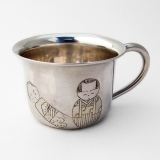 .Japanese Engraved Kokeshi Doll Baby Cup 950 Sterling Silver 1960