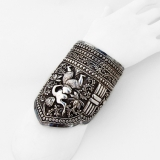 .Large Ornate Topless Women Bangle Bracelet Chinese Silver