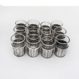 .Japanese 12 Basket Weave Shots Set Glass Inserts Arthur Bond Sterling Silver