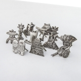 .Japanese 12 Figural Place Card Holders Set 950 Sterling Silver