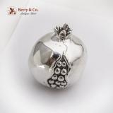 .Life Size Decorative Pomegranate Figurine Italian 970 Sterling Silver 1960