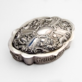 .Portuguese Repousse Oval Box Velvet Lining 833 Standard Silver