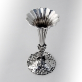 .Chinese Export Silver Bud Vase Figural Grapevine Base 1900