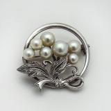 .Mikimoto Round Foliate Pearl Brooch Sterling Silver Tokyo