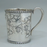 .Coin Silver Cup Repousse Grapevines 1855 Fessenden
