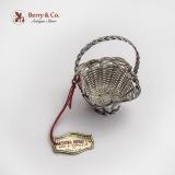 .Cazenovia Abroad Wire Mesh Tall Basket Miniature Topazio Sterling Silver