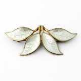 .David Andersen Foliate Brooch White Enamel Gilt Sterling Silver