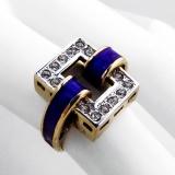 .ESPO Rectangle Cocktail Ring Blue Enamel Gilt Sterling Silver CZ