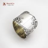 .Art Nouveau Floral Figural Napkin Ring Russian 84 Standard Silver 1910s