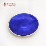 .David Andersen Blue Guilloche Enamel Dish Plate Gilt Sterling Silver Norway