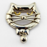.Stylized Cat Brooch Ball Dangle Sterling Silver Mexico