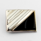 .Onyx Inlay Rectangle Brooch Pendant Sterling Silver Mexico