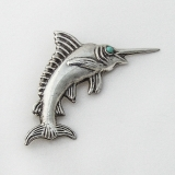 .Swordfish Brooch Turquoise Eye Sterling Silver Mexico