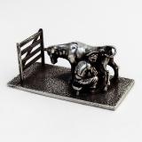 .Italian Cow Milker Miniature Figurine Sterling Silver 1970 Florence