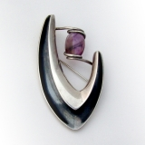 .Sigi Pineda Modernist Abstract Brooch Amethyst Sterling Silver Mexico