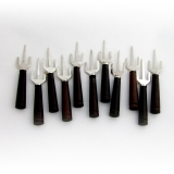 .Mexican 11 Trident Corn Holders Set Ebony Handles Sterling Silver