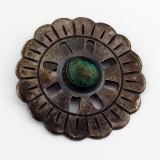 .Antique Mexican Round Turquoise Brooch Sterling Silver Taxco