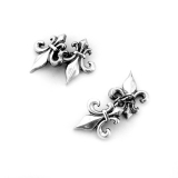 .French Figural Fleur De Lis Cufflinks Sterling Silver
