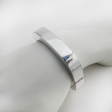 .Ronded Rectangle Cuff Bracelet Hinged Hollow Sterling Silver Mexico