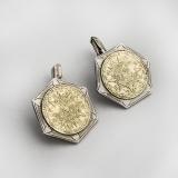 .Gilt Mayan Calendar Hexagonal Cufflinks Sterling Silver Mexico