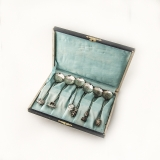 .Japanese Coffee Spoons Set Floral Bowls Figural Finials 950 Sterling Silver Boxed