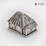 .Japanese Thatched Roof House Form Salt Shaker Sterling Silver