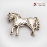 .Cast Figural Horse Brooch Metales Casados Sterling Silver Mexico