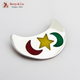 .Enamel Crescent Form Brooch Sterling Silver Mexico