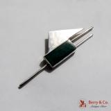 .Long Geometric Brooch Green Enamel Sterling Silver Mexico