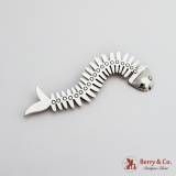 .Long Stylized Fishbone Brooch Sterling Silver Mexico