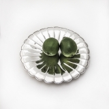 .Japanese Lobed Round Footed Tray Uyeda 950 Sterling Silver