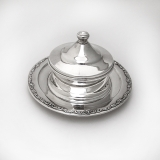 .Japanese Covered Butter Press Scroll Rim 950 Sterling Silver 1960