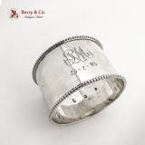 .Danish Large Beaded Napkin Ring 830 Standard Silver 1887 Mono PM