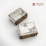.Russian Engraved Rectangle Napkin Rings Pair Matte 84 Standard Silver