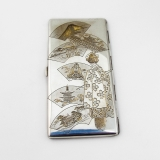 .Japanese Engraved Cigarette Case Gilt Accents Sterling Silver 1930