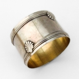 .French Banded Shell Napkin Ring Gilt Interior 950 Sterling Silver 1900