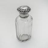 .English Cut Glass Cologne Bottle Repousse Lid Sterling Silver 1896 Mono AML