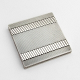 .Art Deco Engine Turned Cigarette Case French 950 Sterling Silver 1930