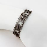 .Floral Filigree Square Link Bracelet 800 Standard Silver Italy