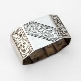 .English Bright Cut Panelled Napkin Ring John Rose Sterling Silver 1961