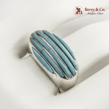 .Sanel Persian Turquoise Striped Oval Ring Sterling Silver Mexico