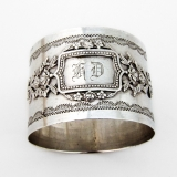 .French Baroque Style Napkin Ring Applied Cartouche 950 Sterling Silver HD
