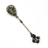 .Plique A Jour Enamel Spoon Floral Finial Swedish 830 Silver 1910