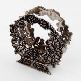 .Floral Wreath Form Napkin Letter Holder 800 Silver Italy