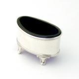 .English Oval Open Salt Cobalt Glass Liner Haseler Sterling Silver 1919