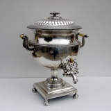 .English Hot Water Tea Urn Blossom Finial Old Sheffield Plate 1810